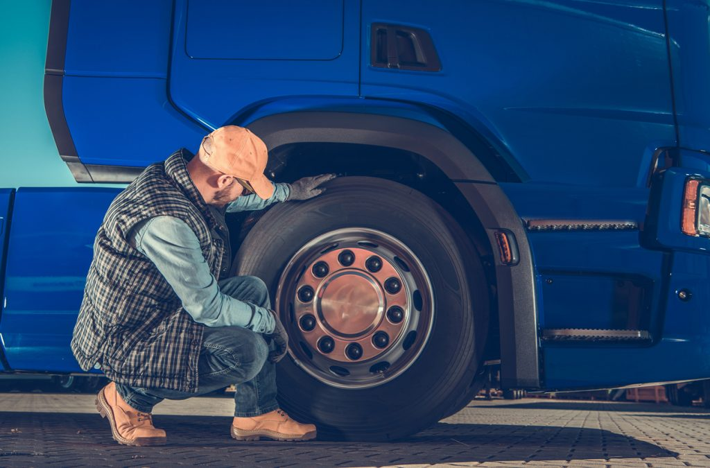 Checking Semi Truck Wheels